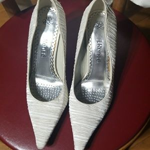 J.Reneé white covered toe shoes
